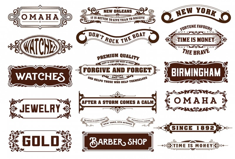 17 Labels and banners. Vector