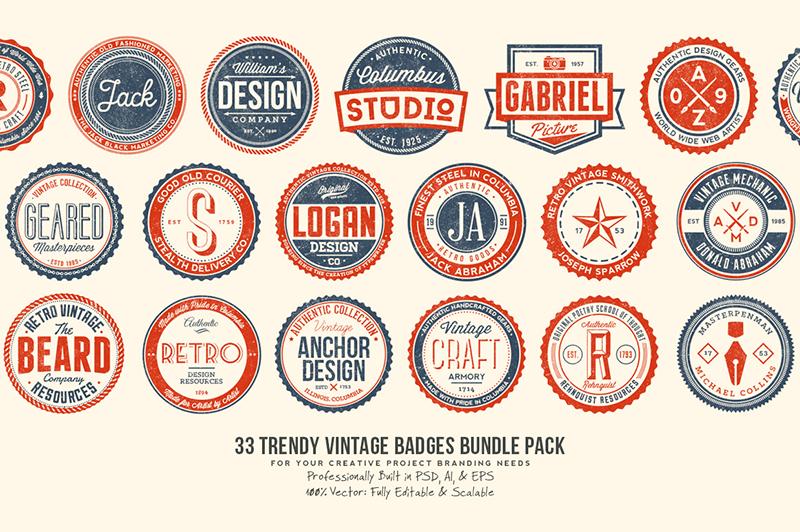 33 Trendy Vintage Badges Bundle Pack Cover