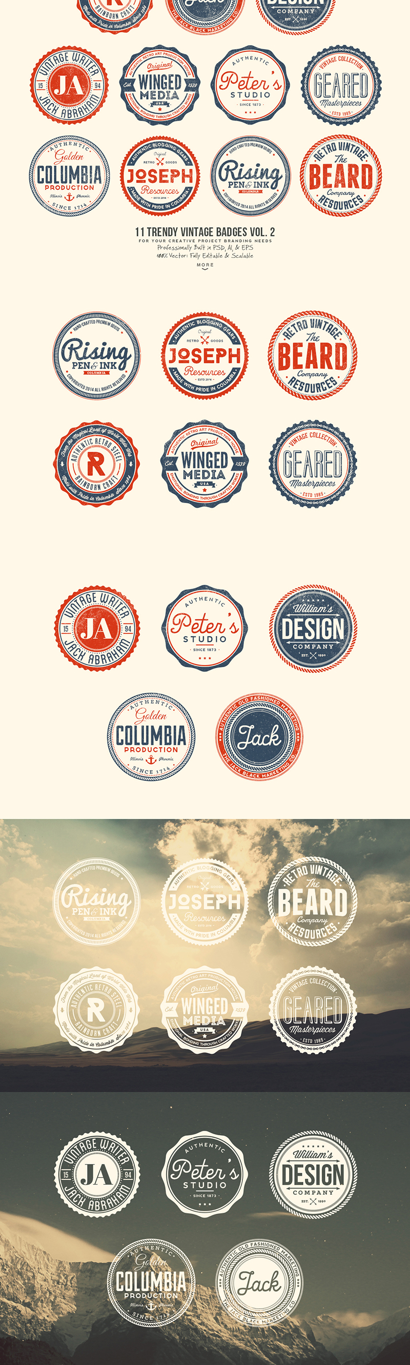 33 Trendy Vintage Badges Bundle Pack Preview 2