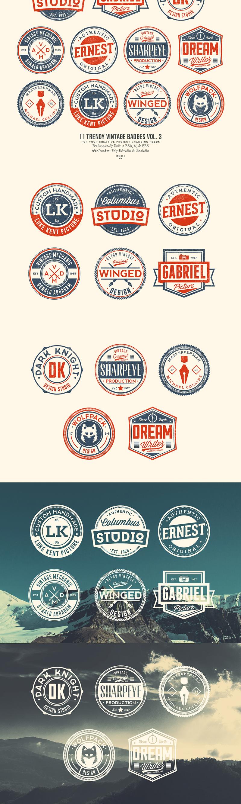 33 Trendy Vintage Badges Bundle Pack Preview 3