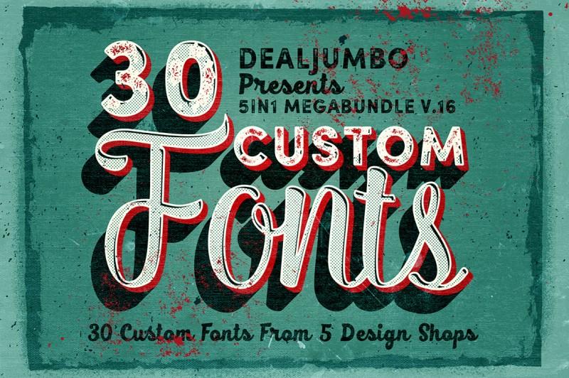 5in1 Mega Bundle v.16: Custom Fonts