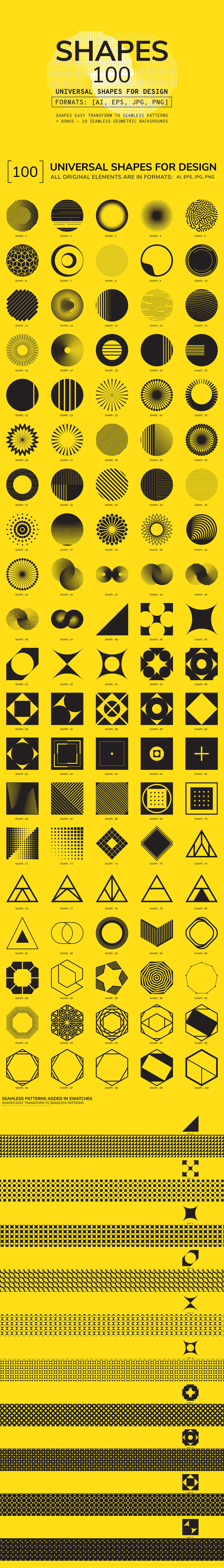 Set of 100 individual vector geometric shapes
