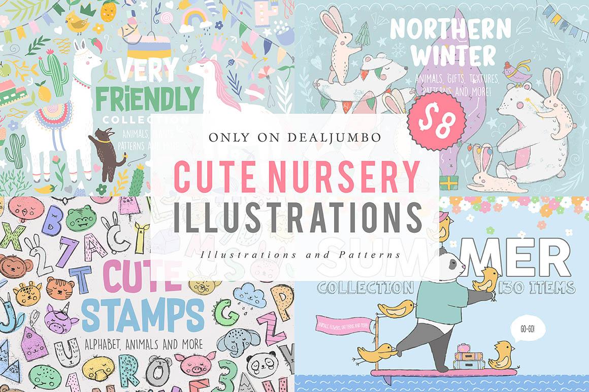 Cute Nursery Illustrations - $8