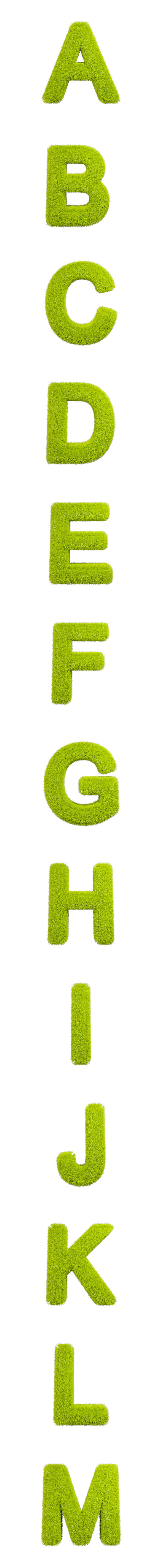 Full Grass Alphabet Isolated Letters-1