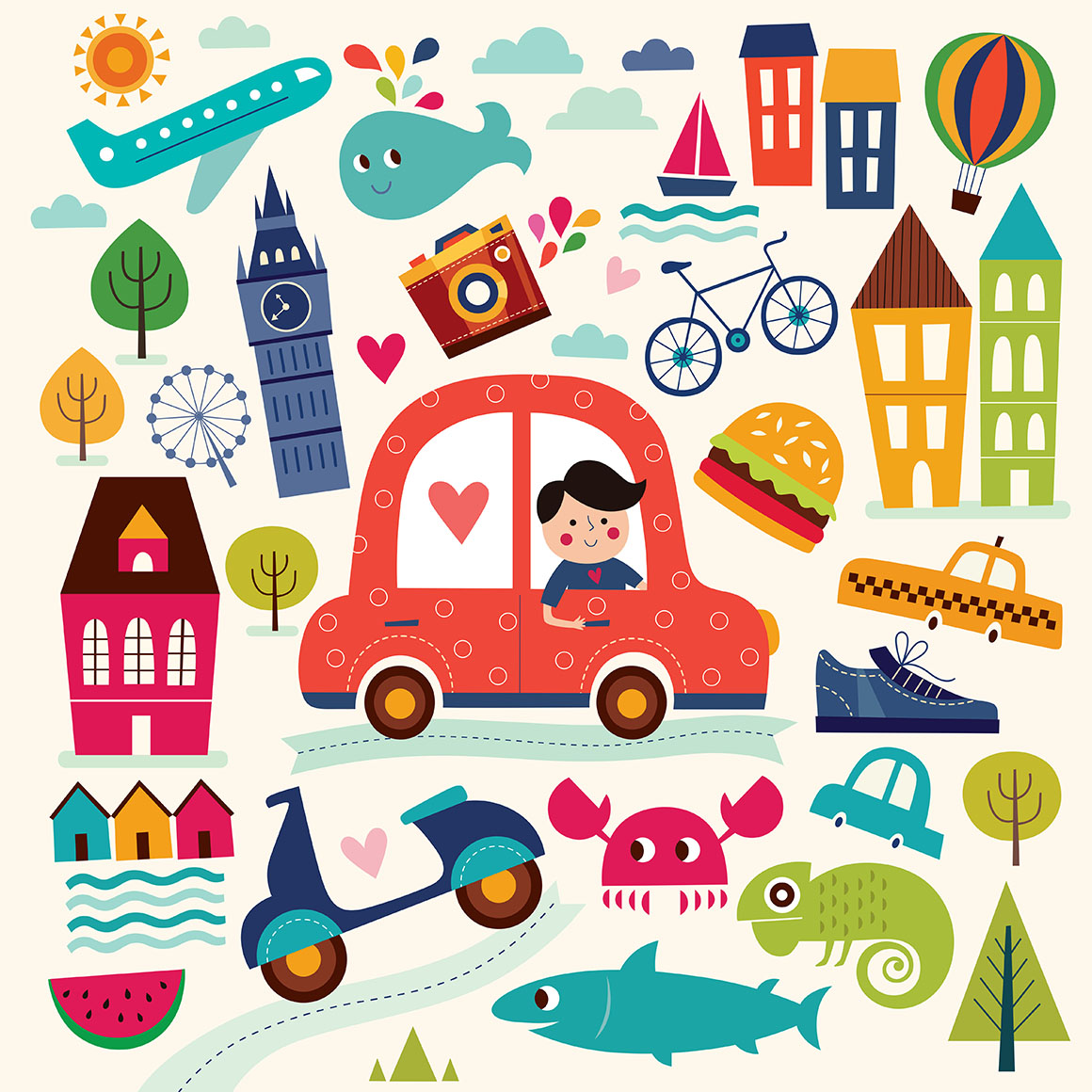 Illustration with summer symbols. Summer travel. Pattern with man, car, sailboat, motorbike, trees, houses. Cartoon pattern