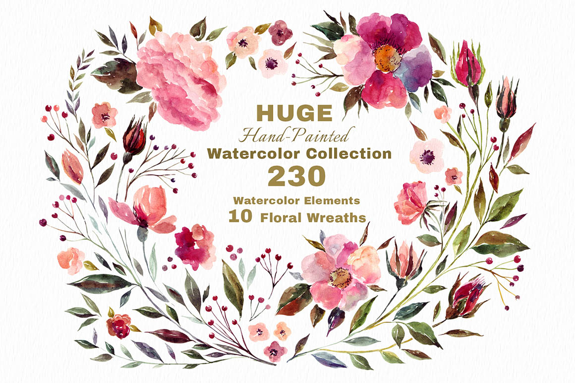 230 Watercolor graphic elements 1