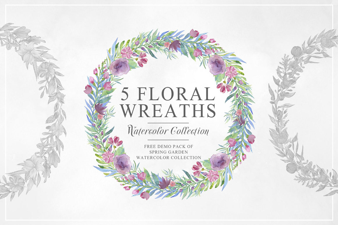 5 Free Watercolor Floral Wreaths - Dealjumbo com — Discounted