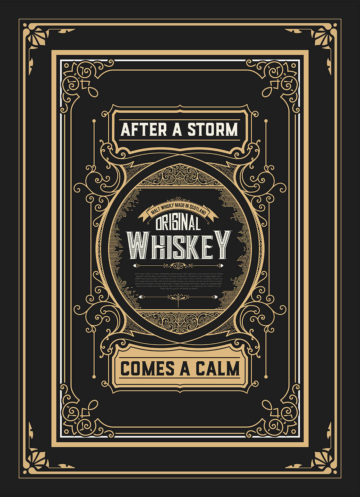 Old Whiskey label with vintage frames