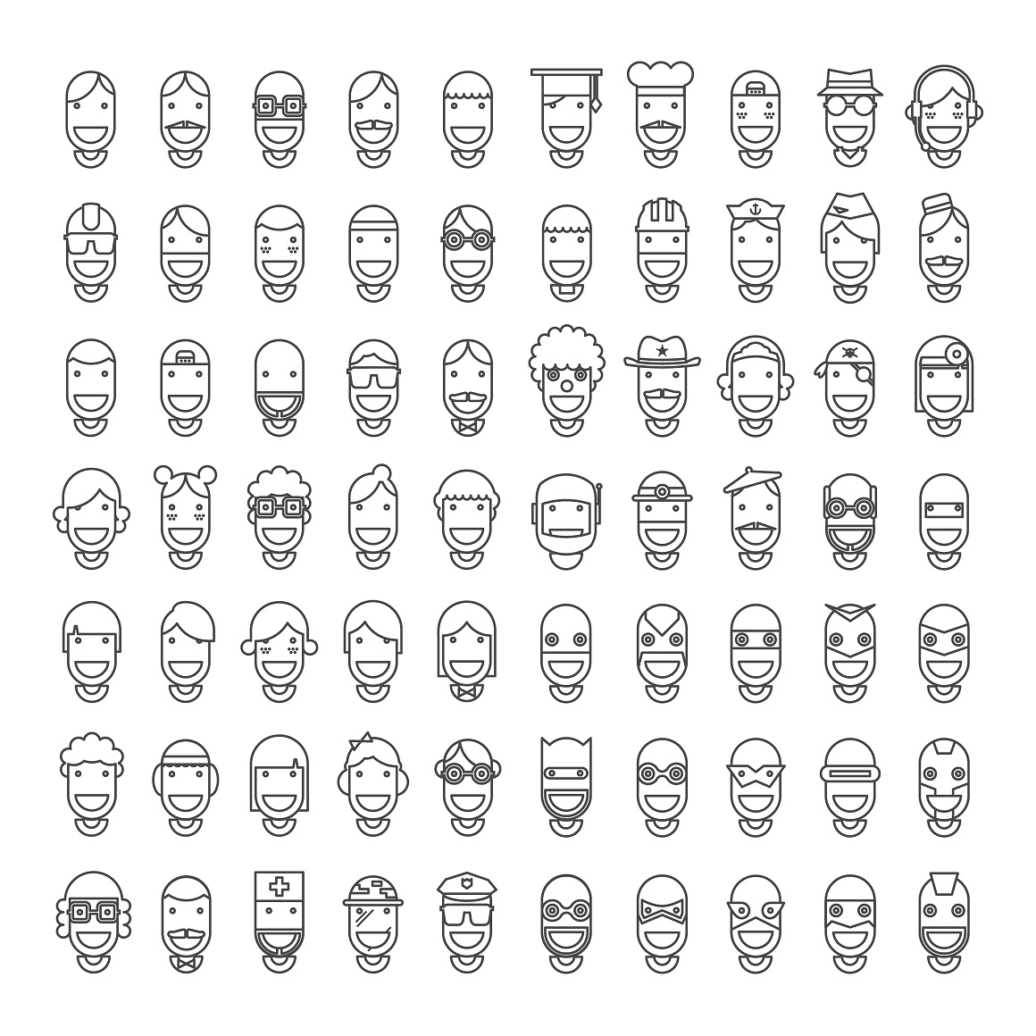 70-lined-happy-character-icons