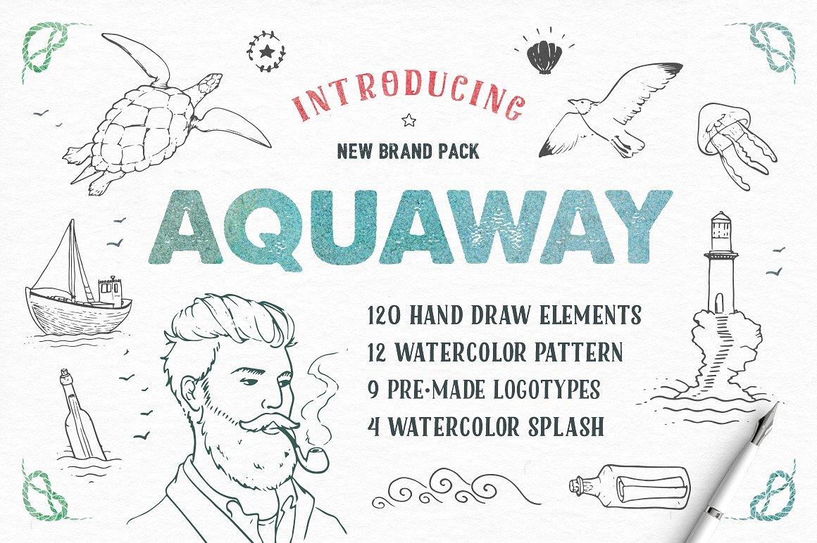 AquaWay - atercolored vector pack1