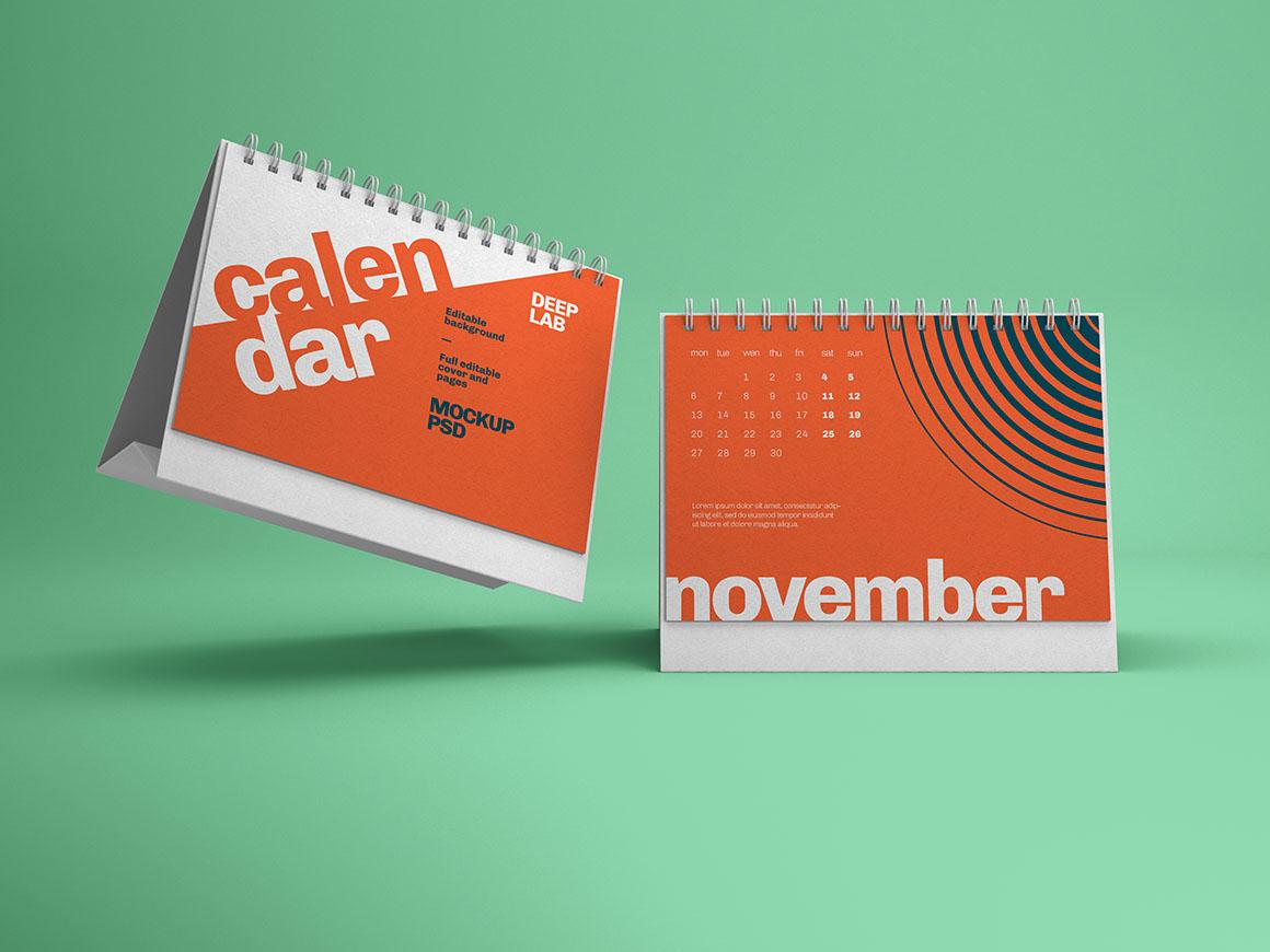 Horizontal Desk calendar with editable background color mockup psd