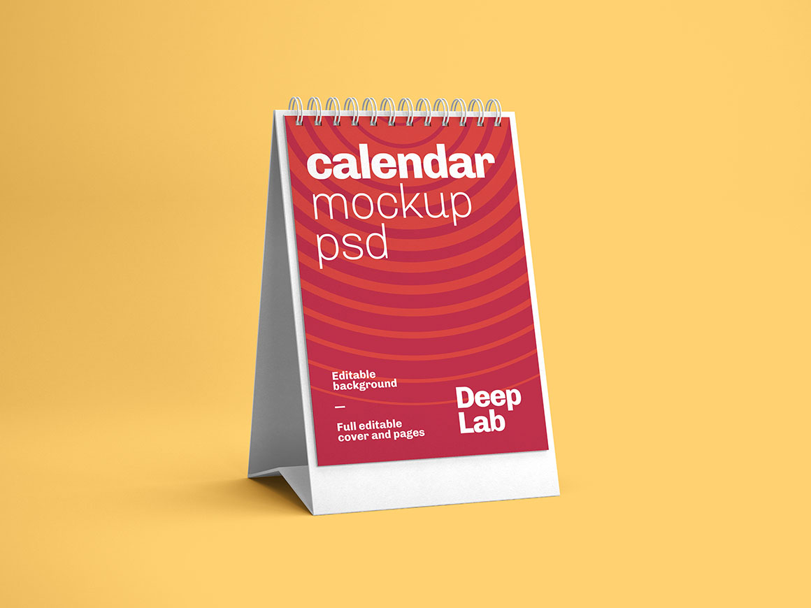 Vertical desk calendar with editable background color mockup psd
