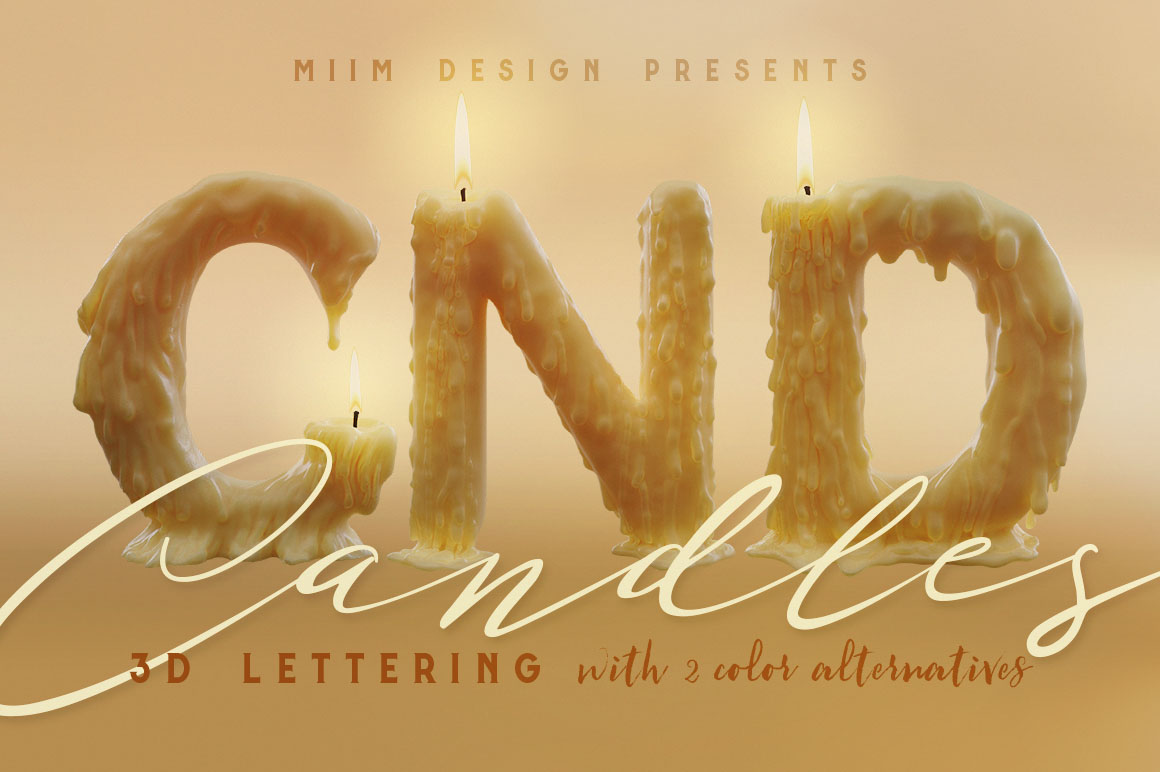 Candle-Light-3d-lettering-01