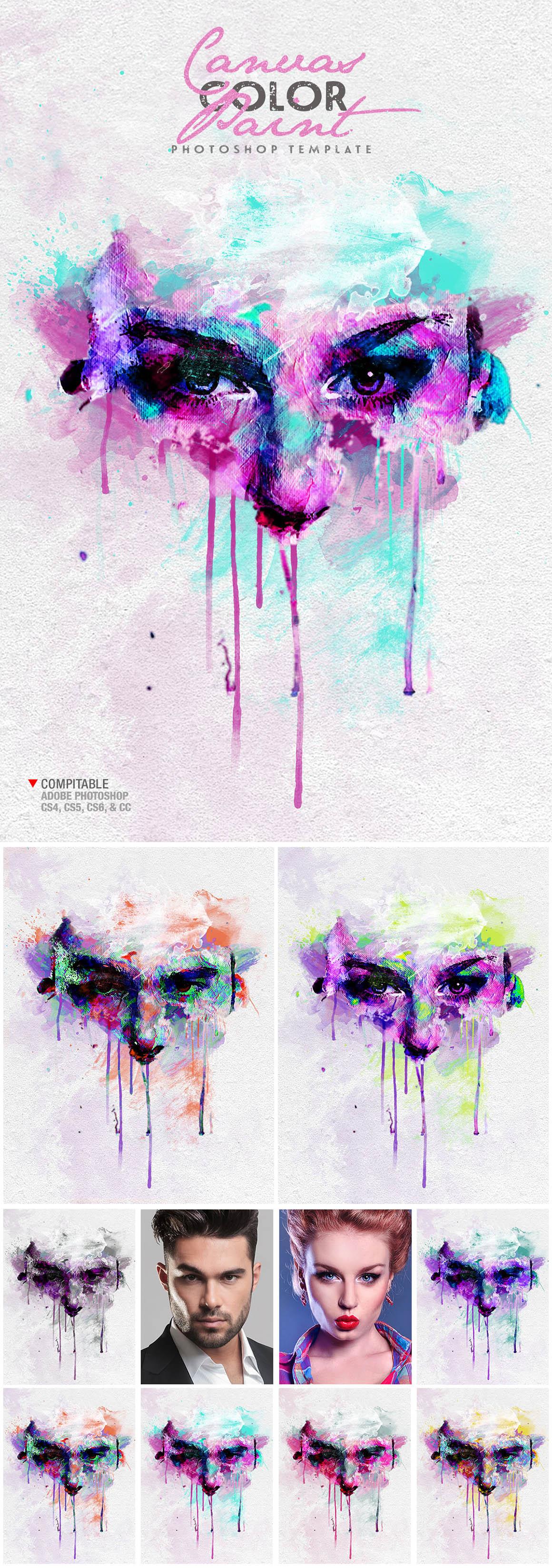 Canvas Color Paint Photo Template (design by AMORJESU)