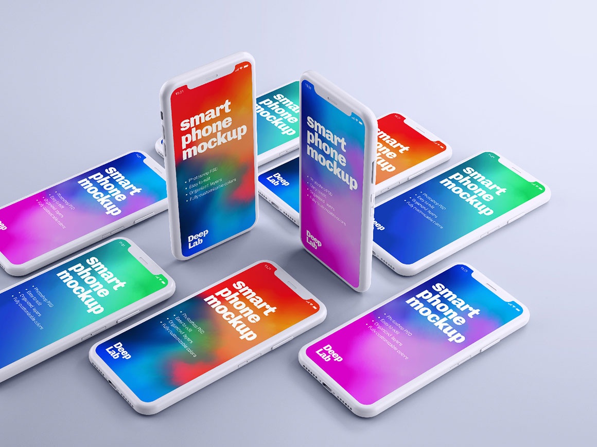 Smartphone mockup for app and mobile web design with editable background mockup