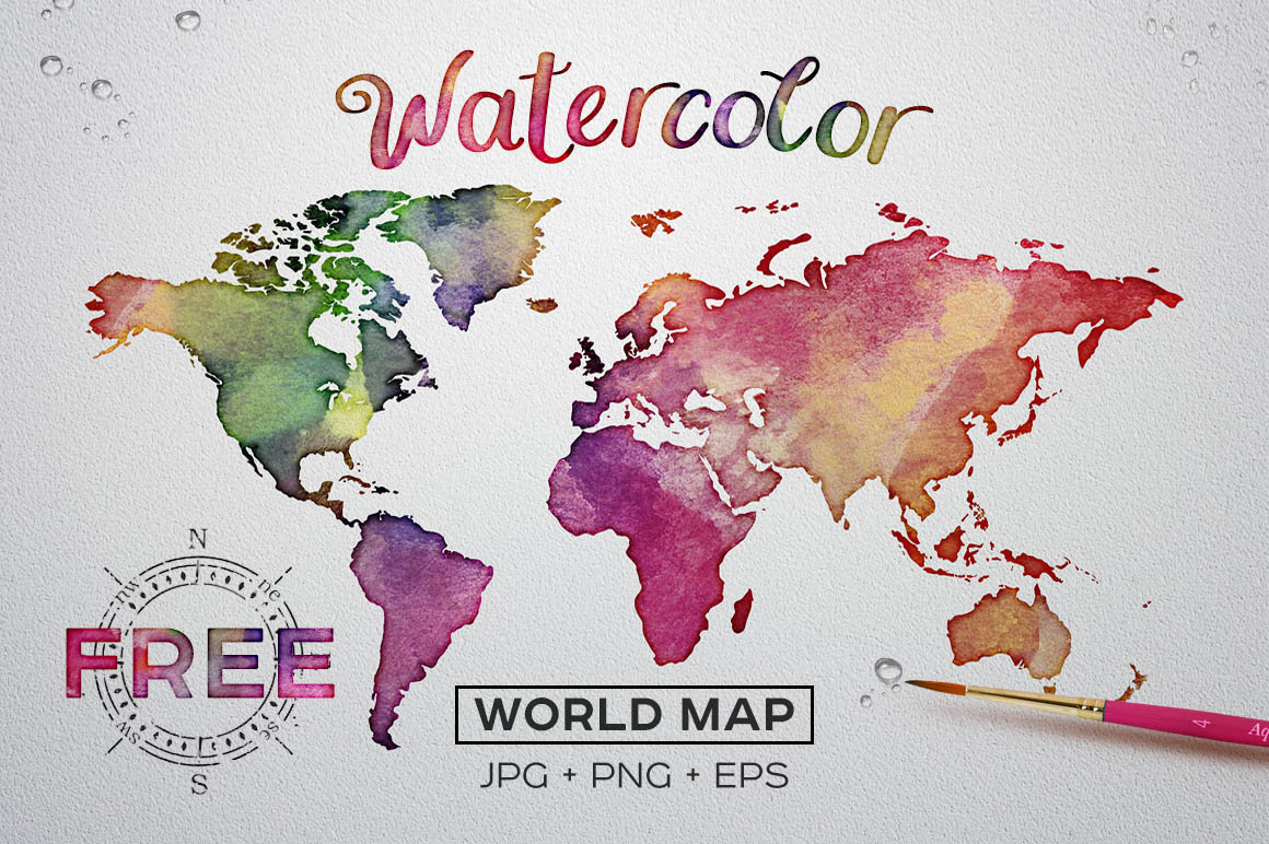 FREE Watercolor World Map