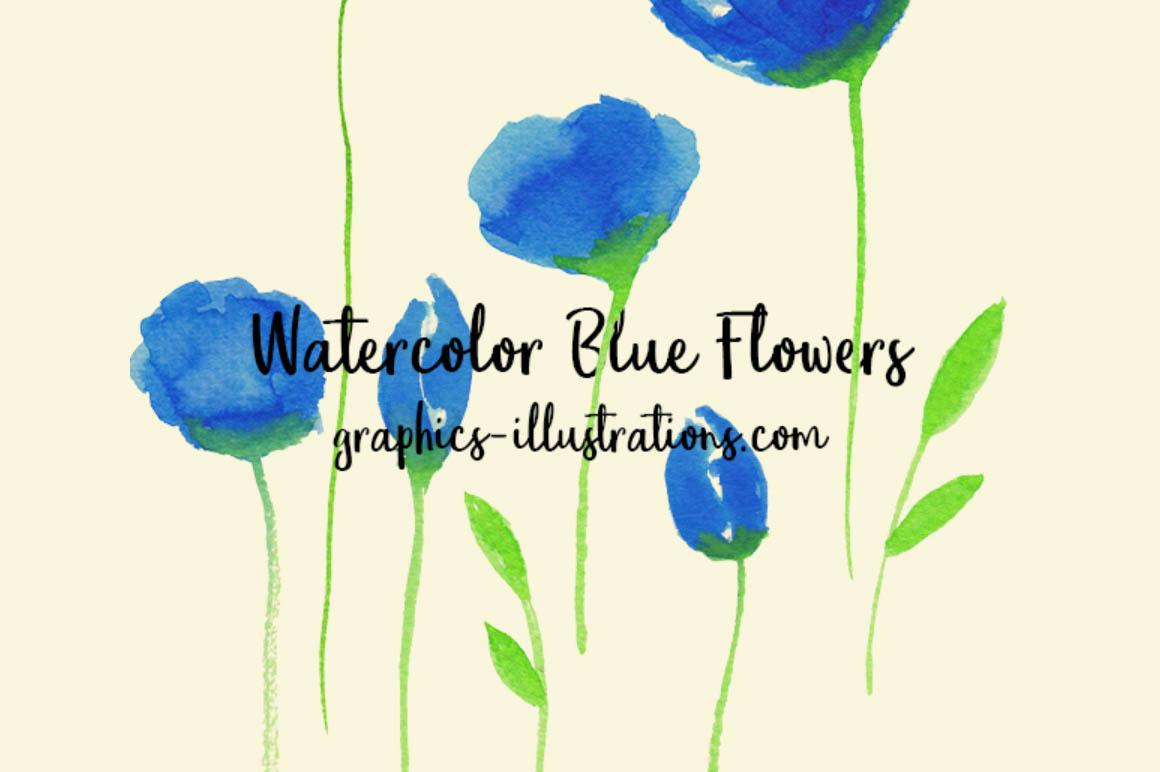 FreeWatercolorBlueFlower1