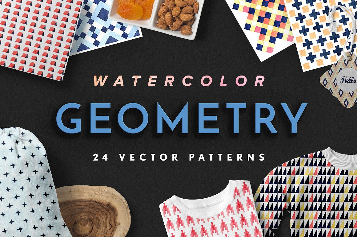 Geometry Watercolor Vector Patterns1