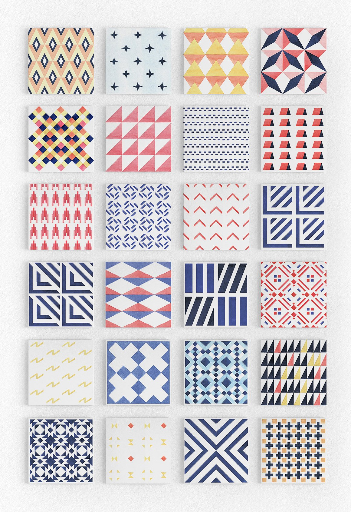 Geometry Watercolor Vector Patterns2