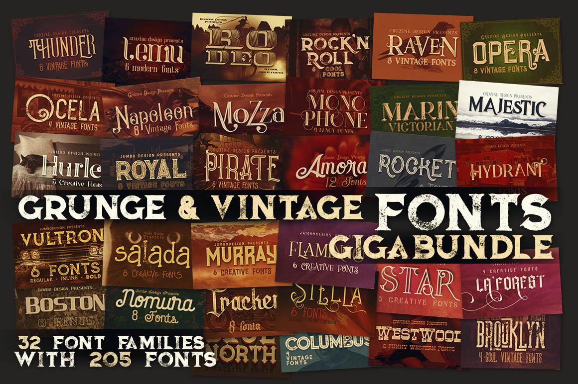 Grunge&VintageFontsGigaBundle