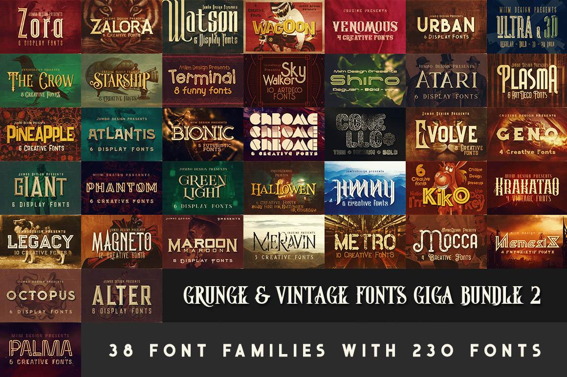 GrungeVintageFontsGigaBundle2