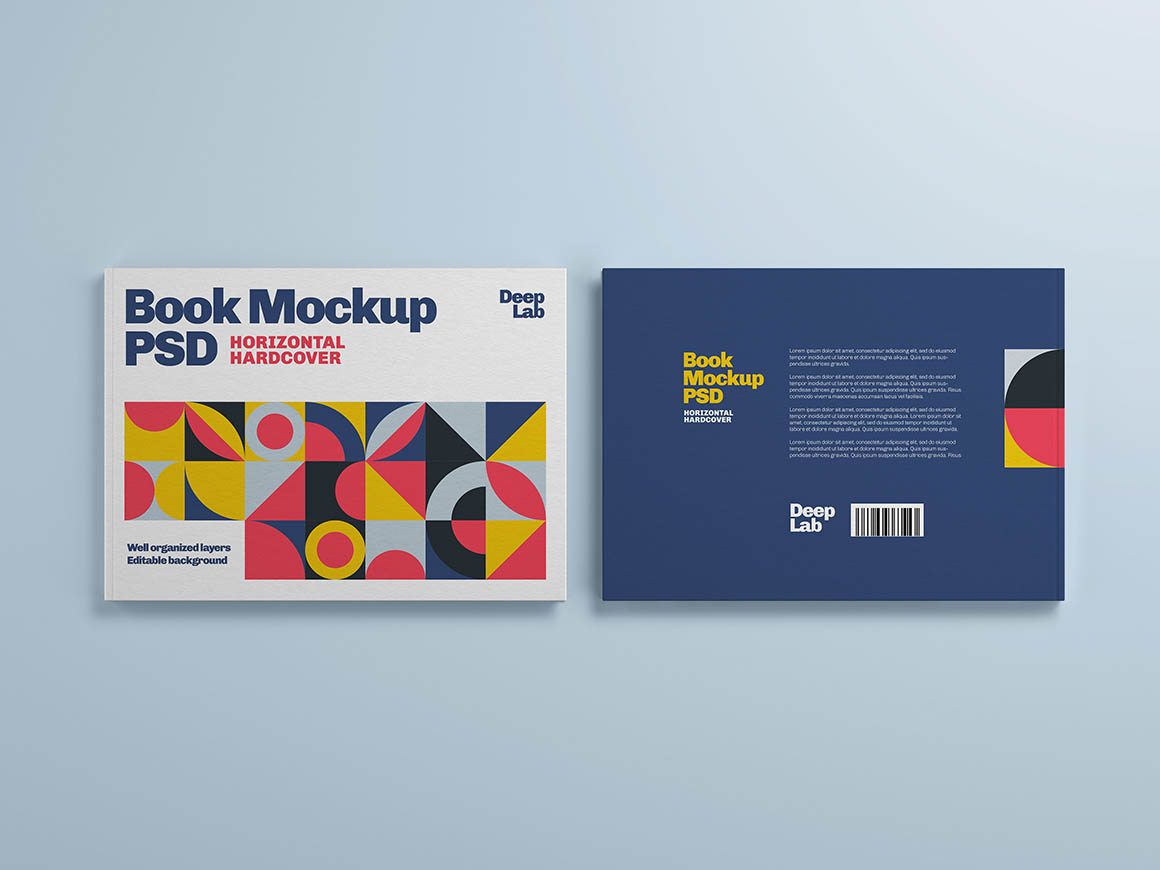 Hardcover horizontal book with editable background color mockup psd