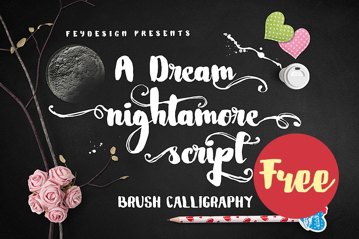 Nightamore Brush Free Font