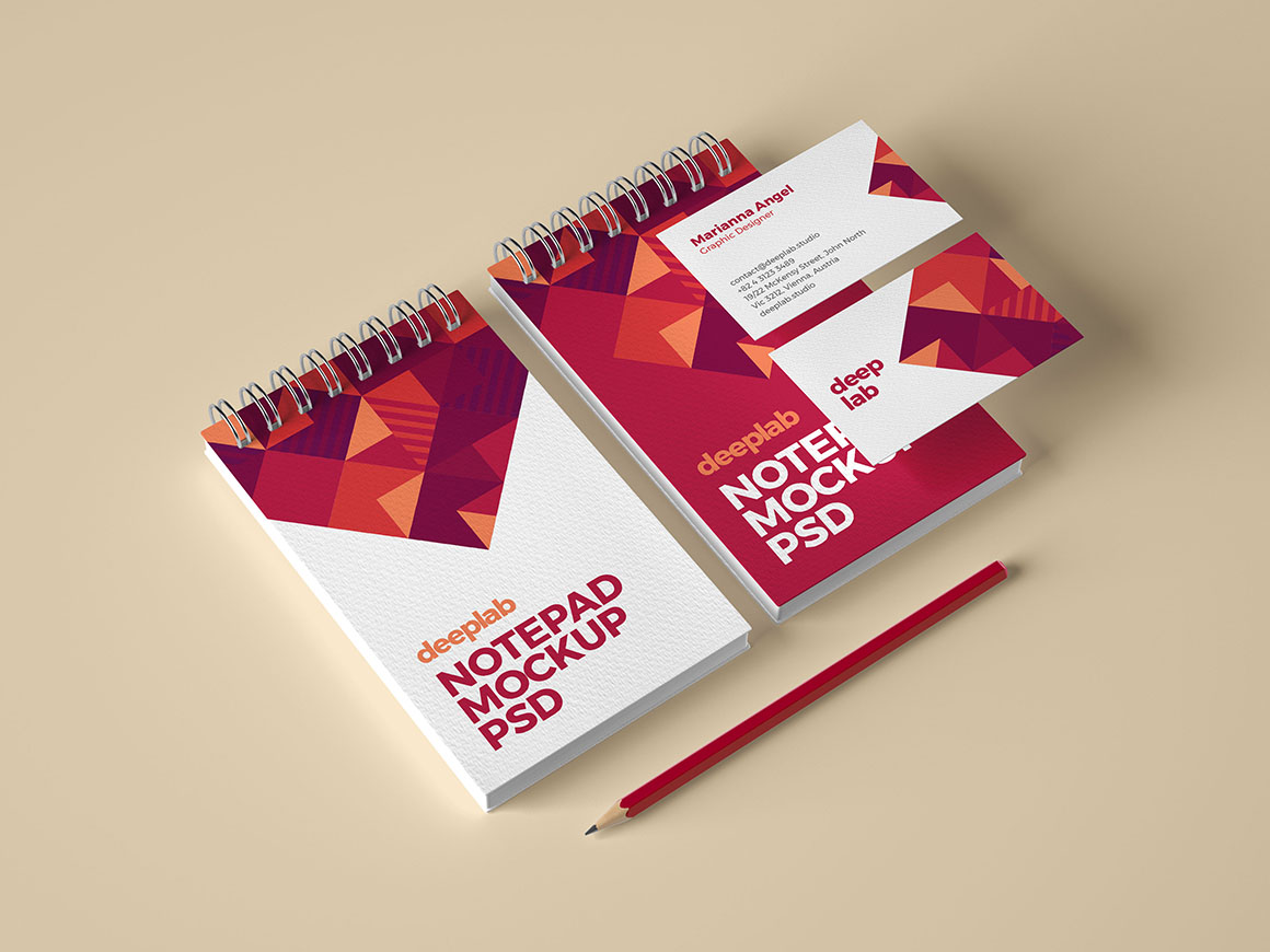 Notepad and business card branding mockup with editable background color