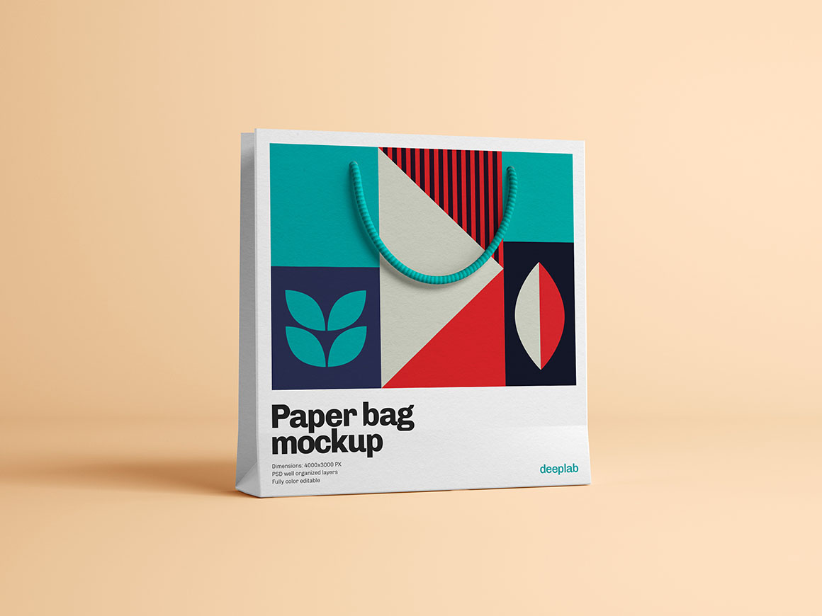 Paper bag with editable background premium mockup psd