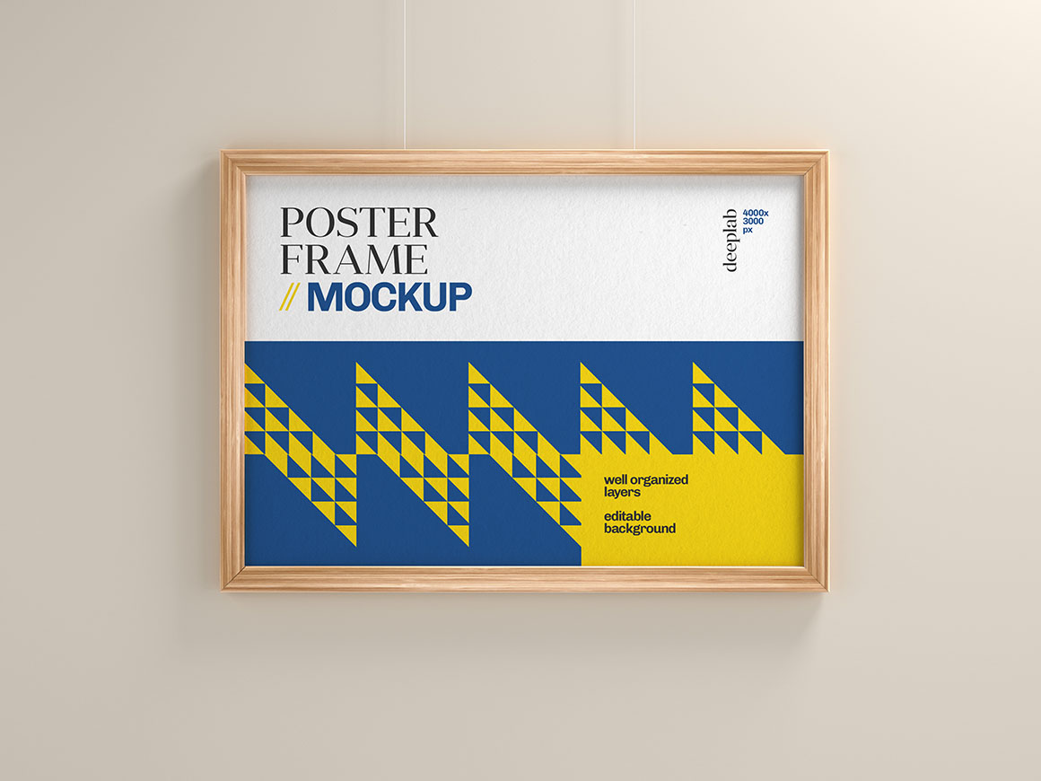 Horizontal poster with editable background color mockup psd