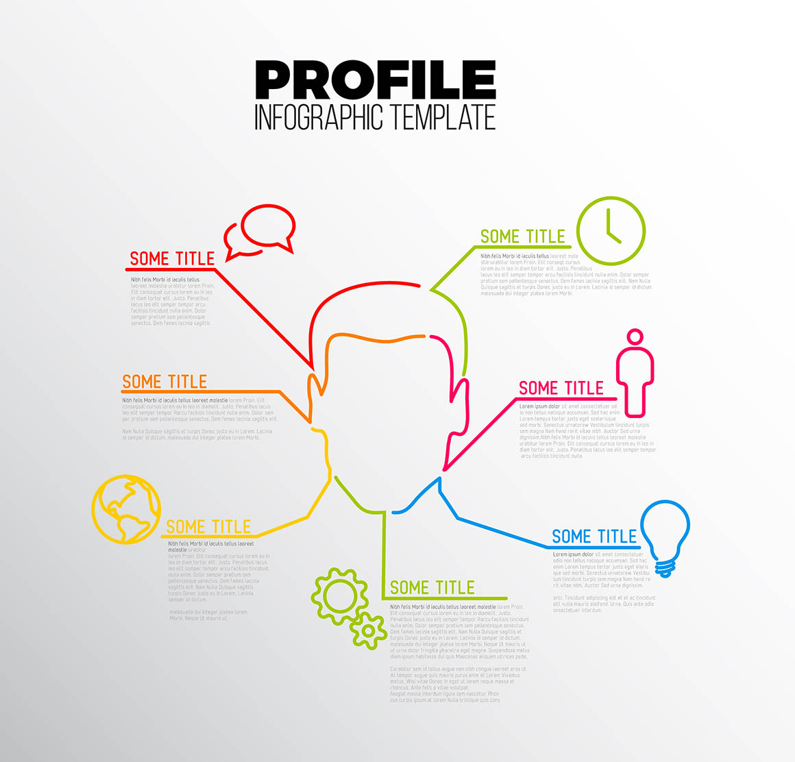 Vector Infographic profile / user template made from lines and icons with an avatar