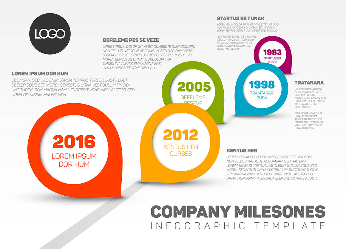 Vector Infographic Company Milestones Timeline Template with fresh modern pointers
