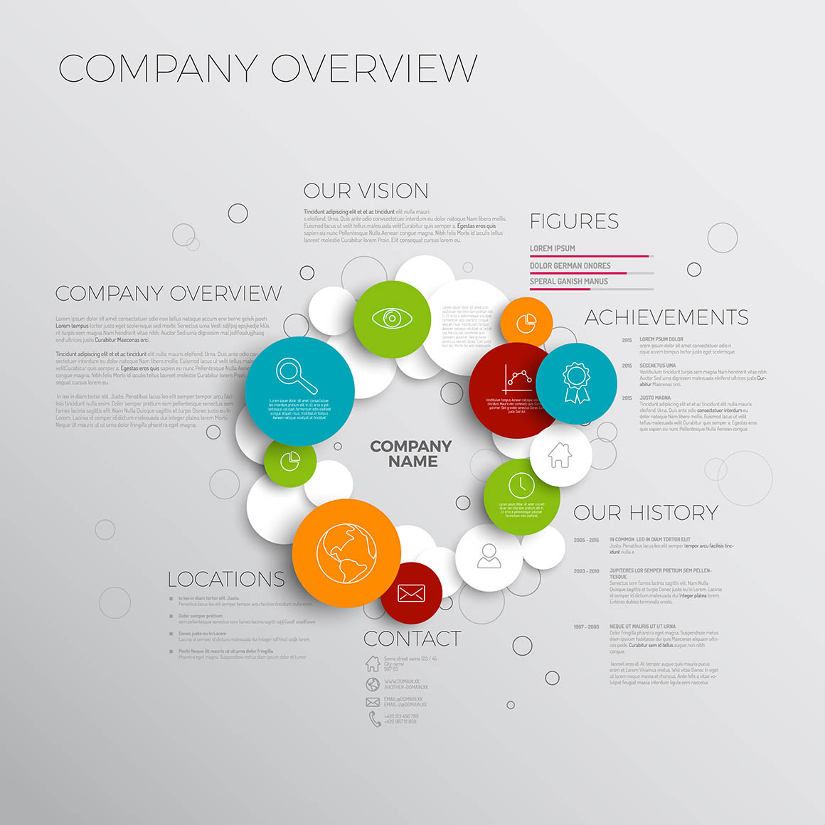 Vector Company infographic overview design template made from circles and icons