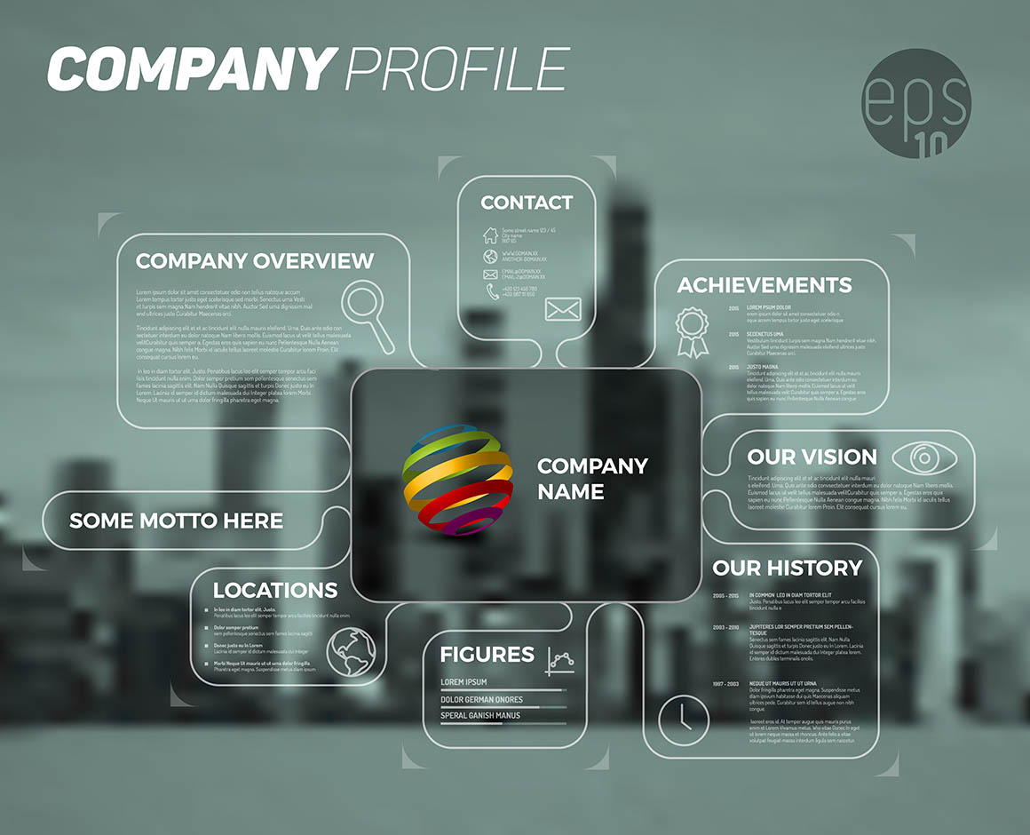Vector design infographic template of company overview - dark version with all important information.