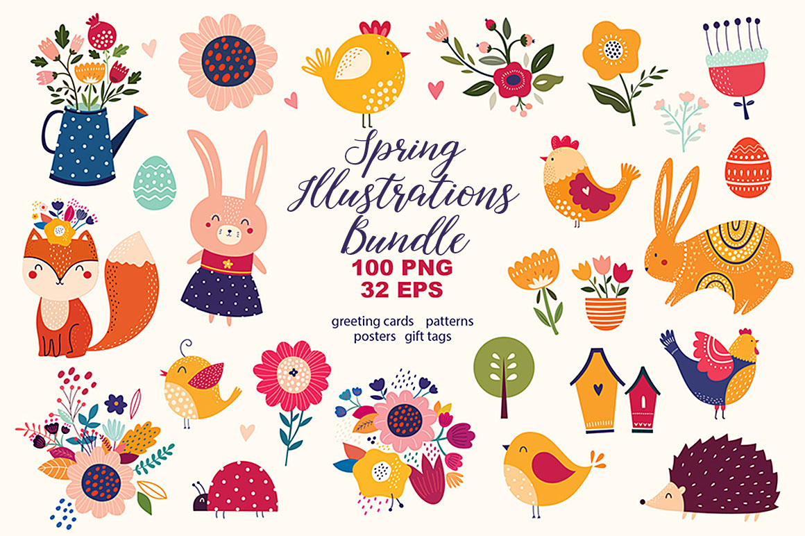 Spring illustrations bundle dealjumbo discounted design decorative cute vector illustration bundle with spring or easter theme biocorpaavc