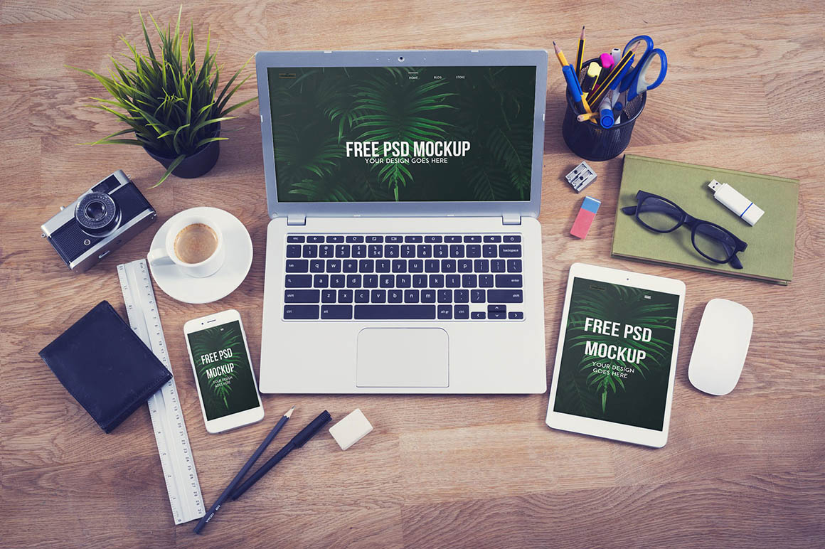 Stationary laptop bundle mockup2