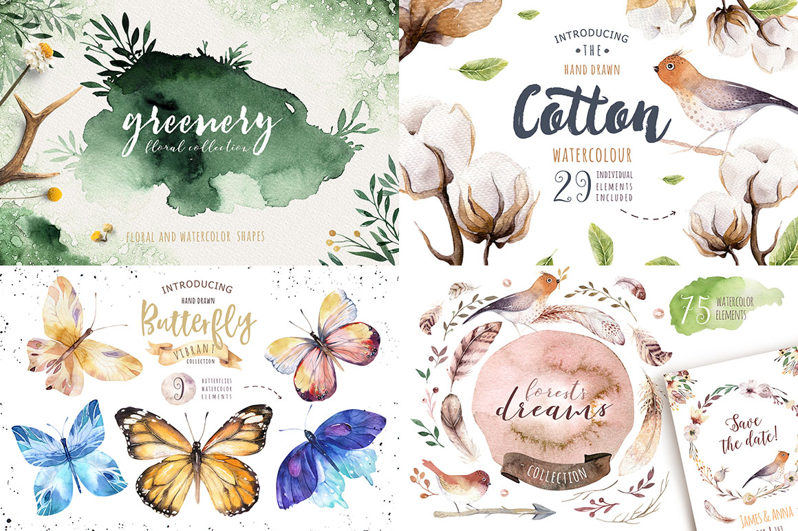 Watercolor Graphics - Summer Time Collection - $9