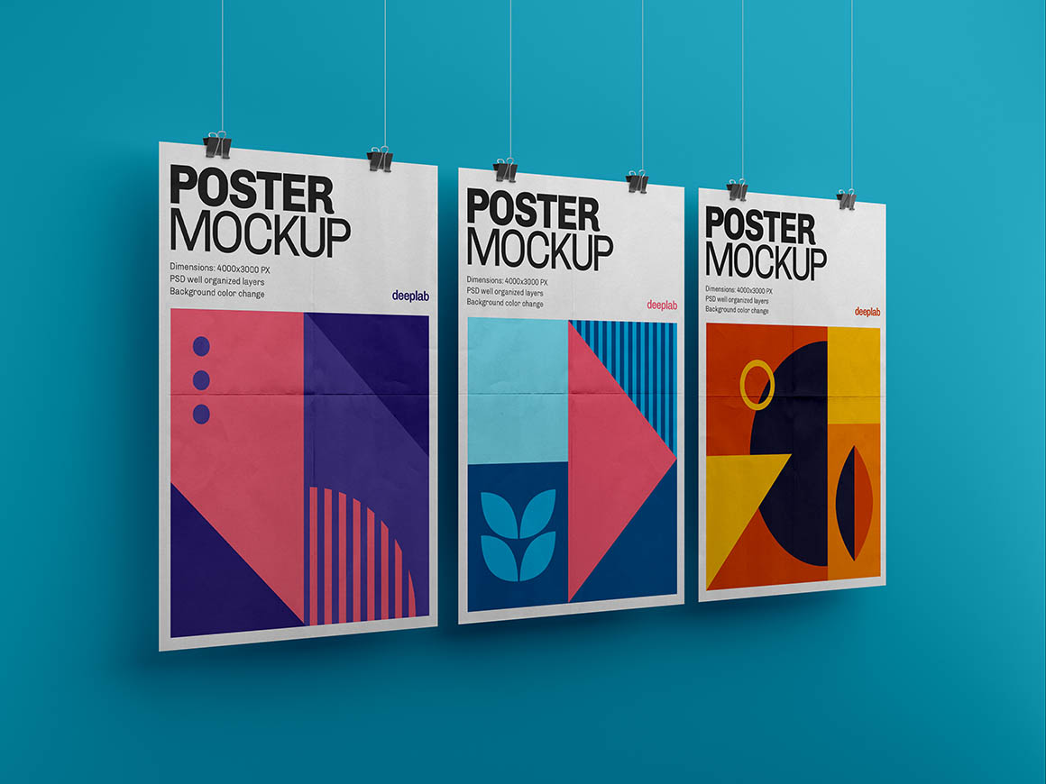 Vertical Poster with editable background color mockup psd
