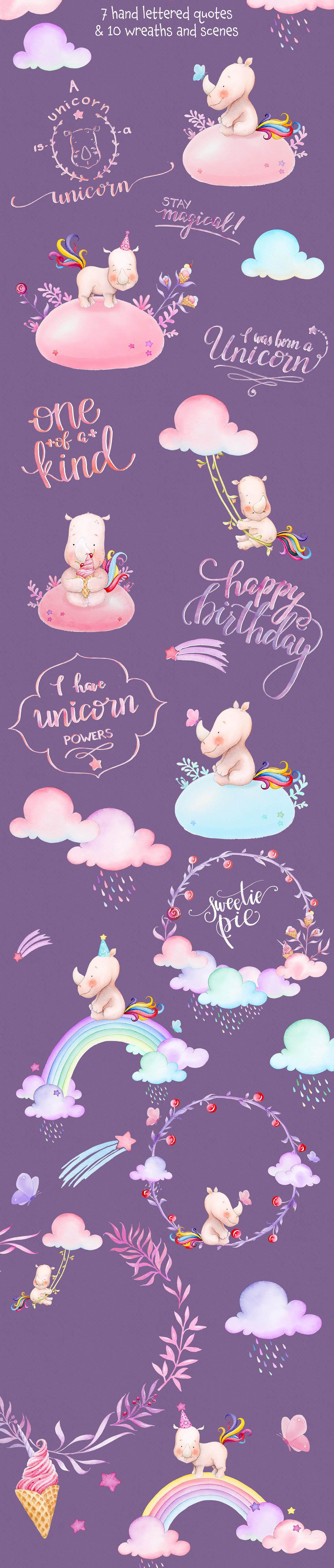 Watercolor Unicorn 3