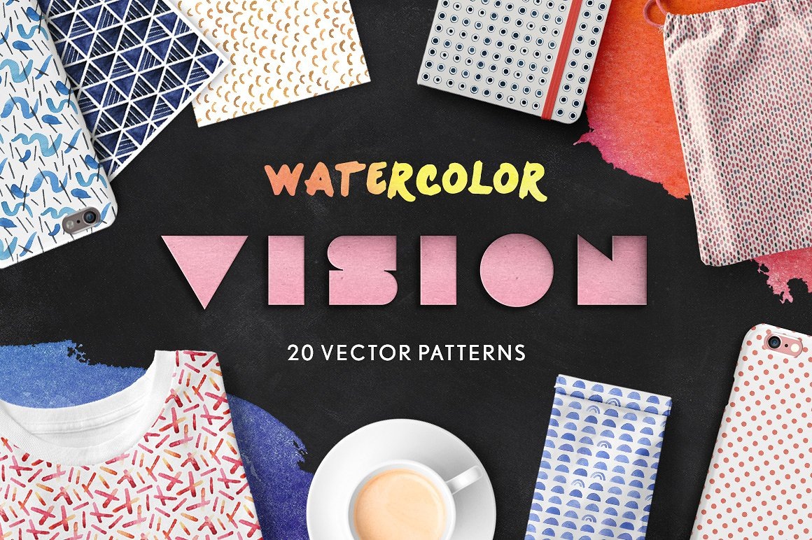 Watercolor Vision Vector Patterns1