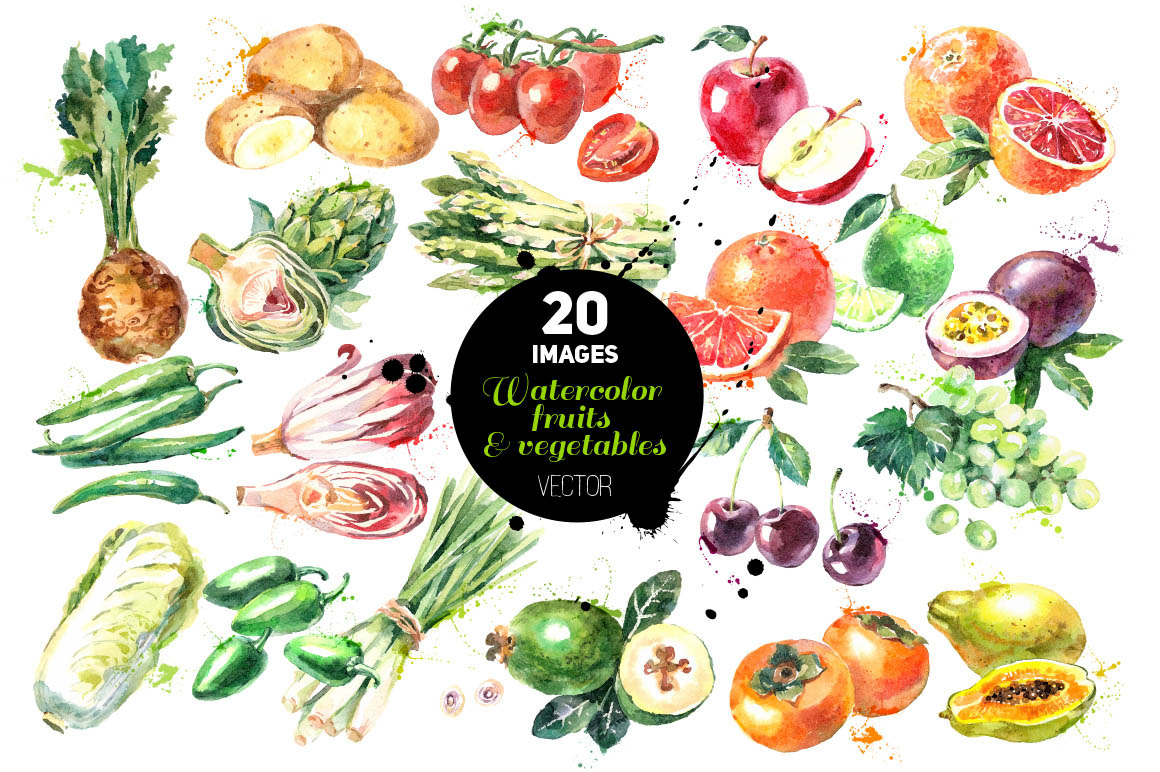Watercolor fruits and vegetables_2