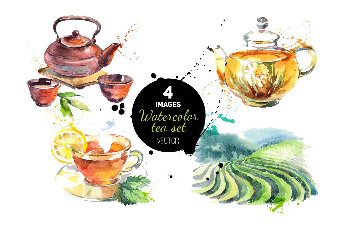 Watercolor herb and spices set
