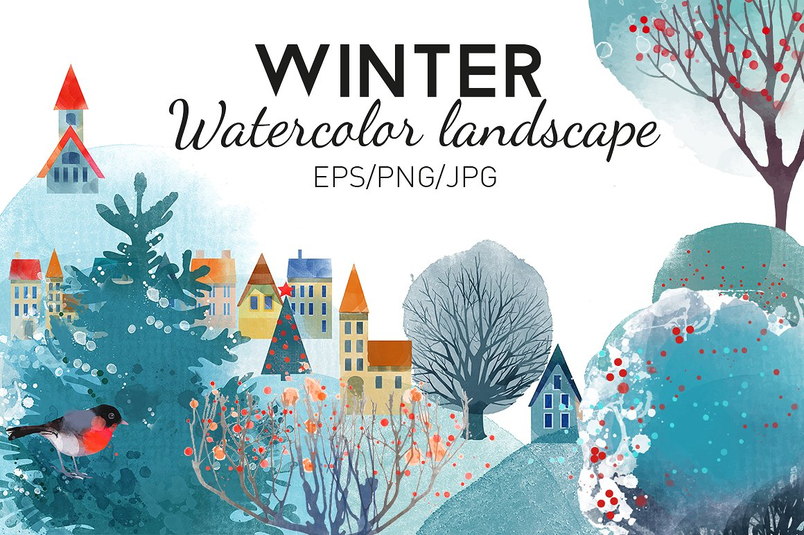 Watercolor-winter-landscape-1