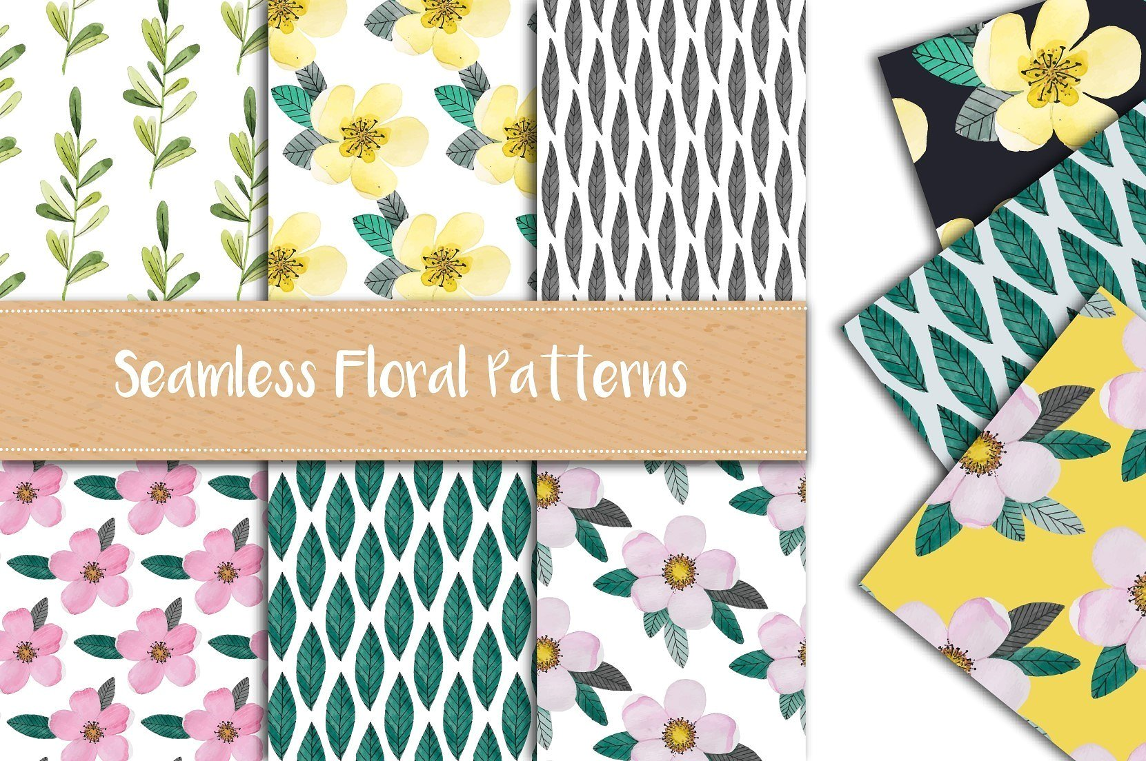 WatercolorFloralPatternSet