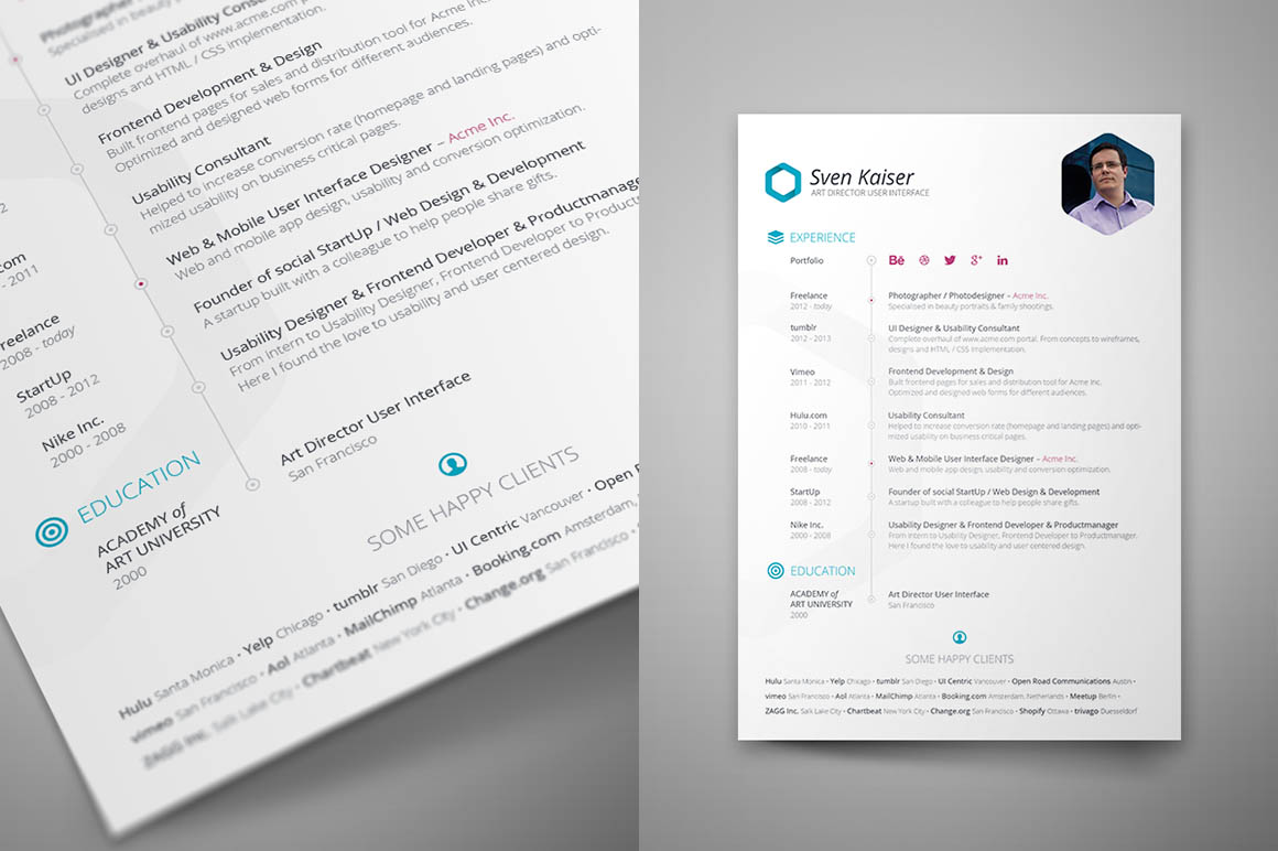 free indesign resume template 2