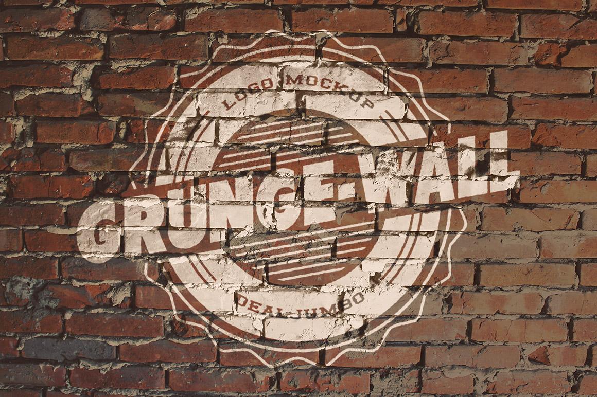 logo mockup old paint on brick wall dealjumbo com discounted