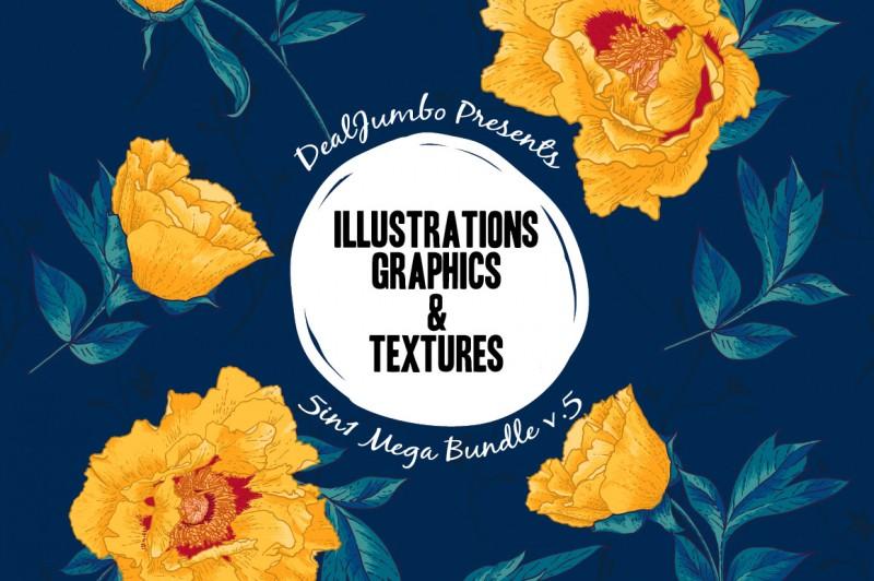 5in1 Mega Bundle v.5: Illustrations, Graphics & Textures