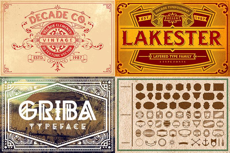 Vintage Custom Fonts & Shapes