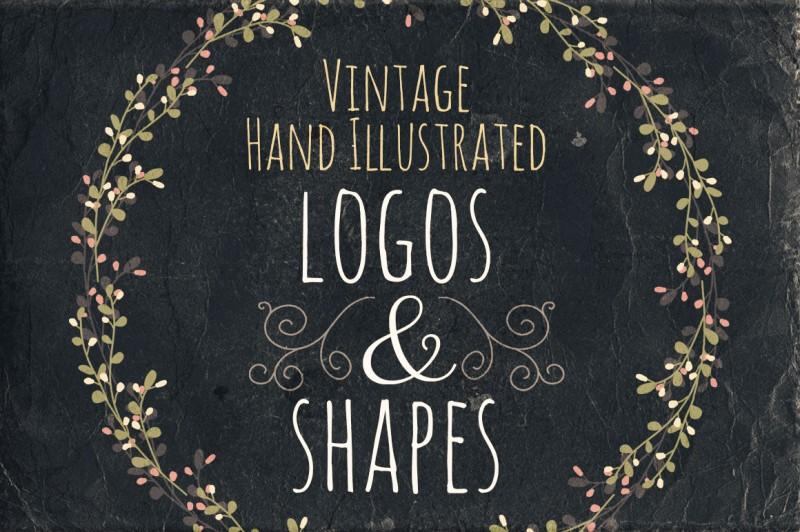 Vintage Hand Illustrated Logos & Shapes