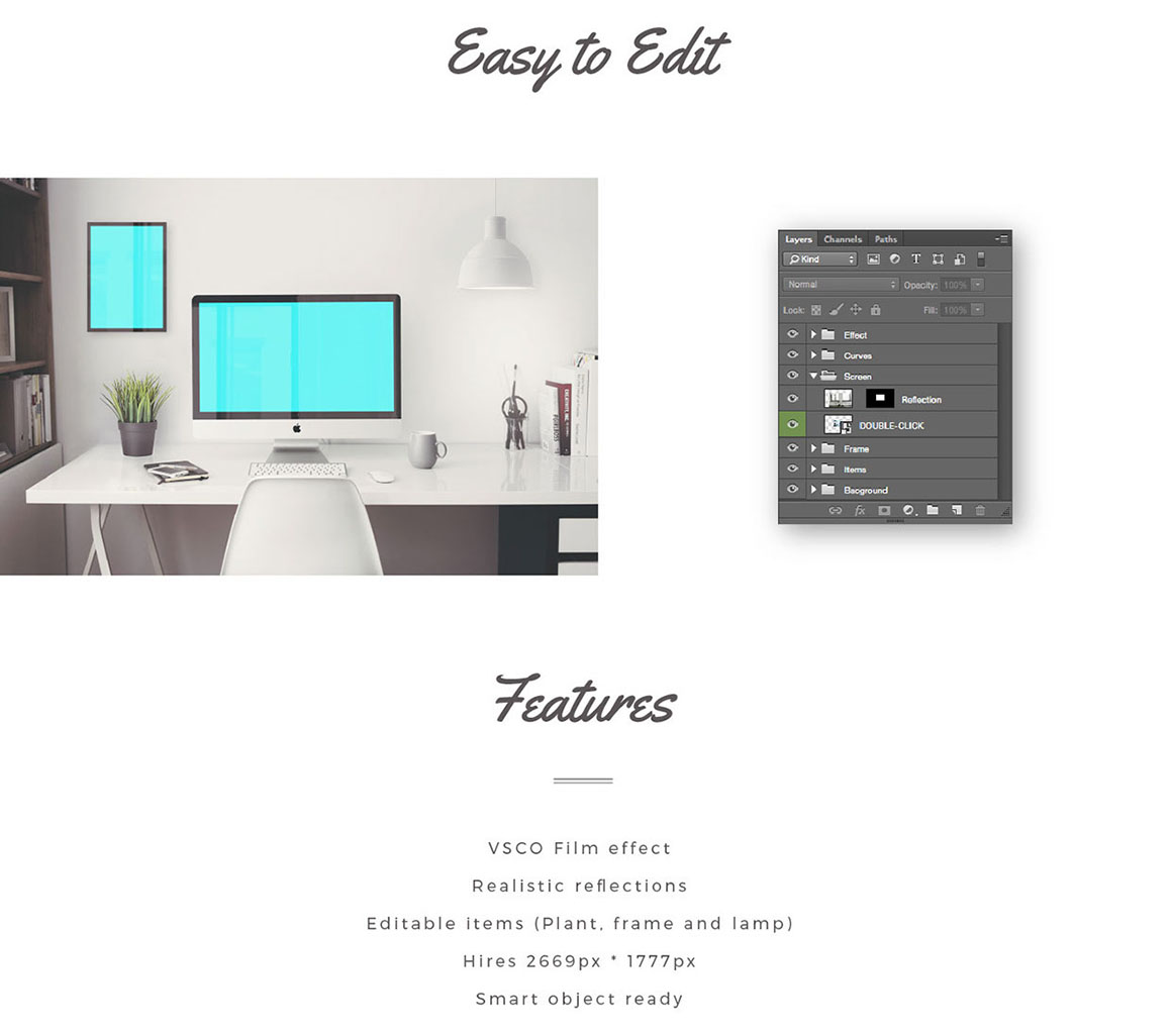 Imac office mockup free psd discounted for Office design jargon